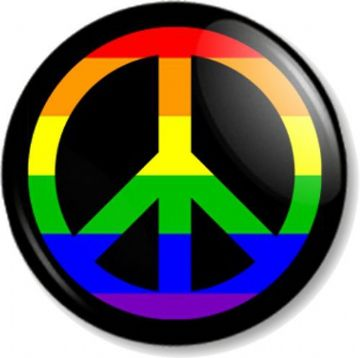 Peace Symbol Rainbow Pinback Button Badge Ban the Bomb Sign Hippie Love LGBTQ Flag